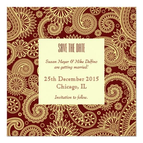 Indian Wedding Save the Date Save the date wedding invitation card red indian