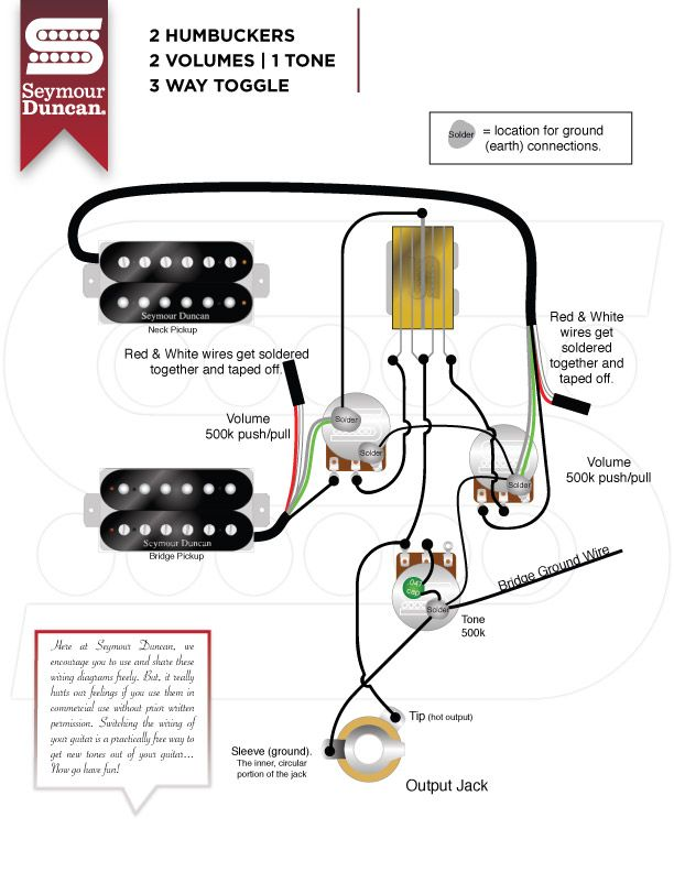 Humbucker Wiring Diagrams 2 Vol 1 Tone | Wiring Diagram on humbucker pickup wiring diagram, 2 tone 1 volume bass diagram, toggle with 1 pickup wiring diagram,