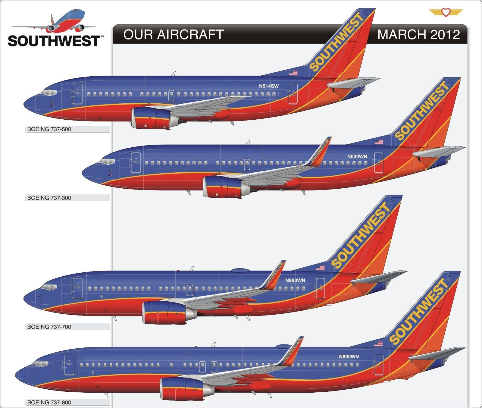 South West 737 Fleet | Link to this page: http://www.aviation-design.net/?id=14110