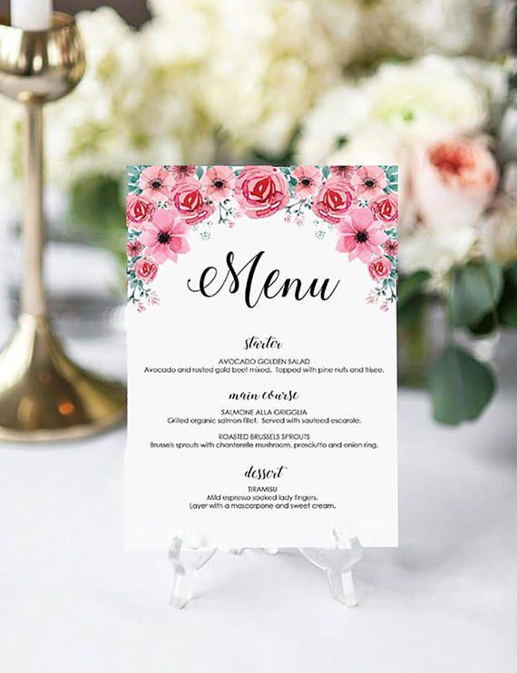 Wedding Menu Place Card Template Printable Editable Script Menu - Menu place cards template