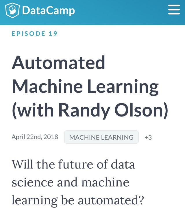 Discussion of automated machine learning tools, such as python