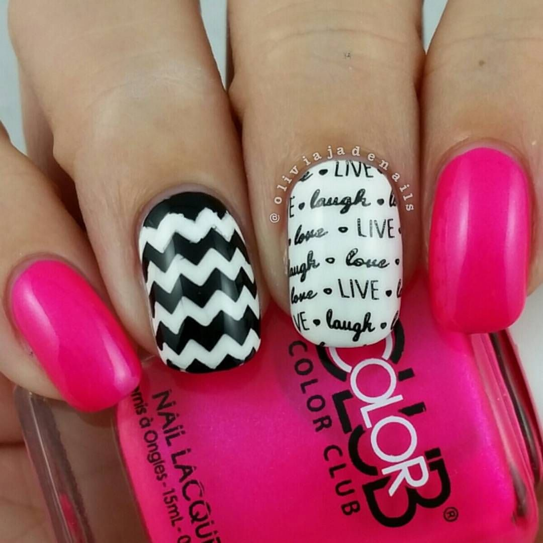 hot pink, black & white chevron nails with words | nails: chevron
