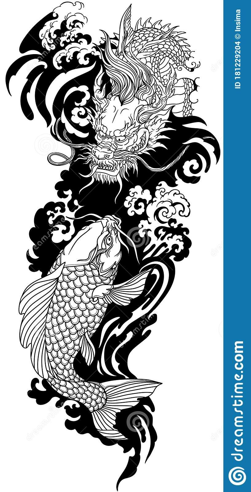 East Asian Dragon And Koi Carp. Black And White Tattoo Stock Vector - Illustration of energy, myth: 181229204