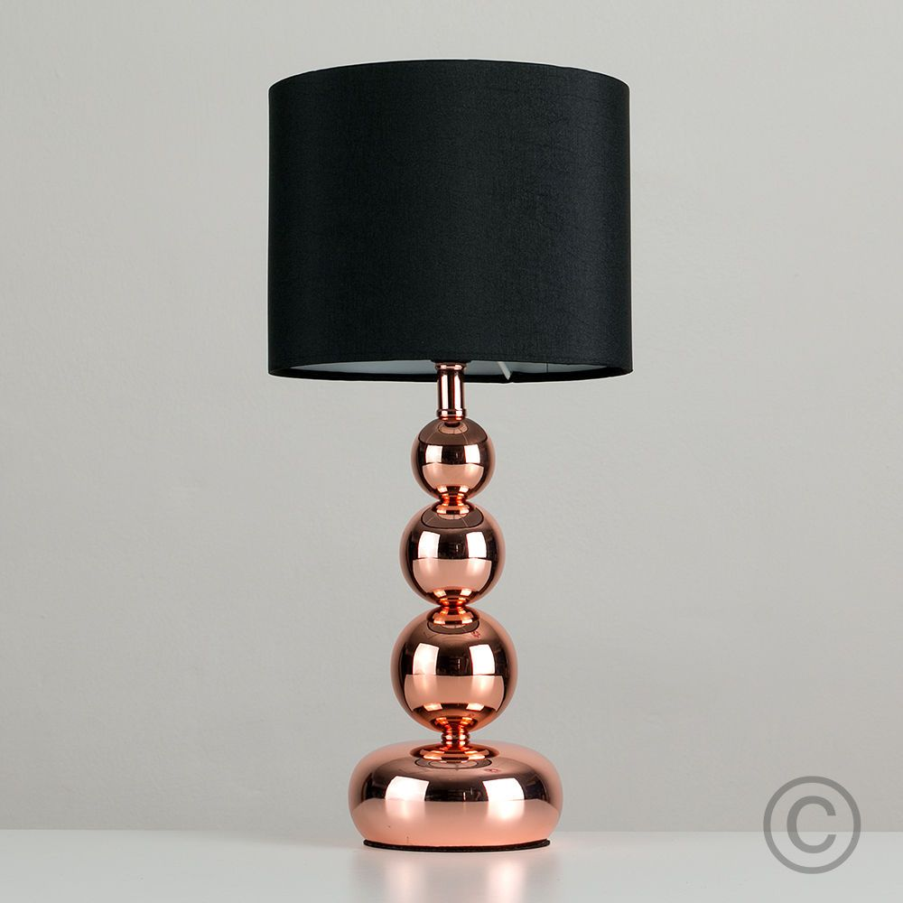 Modern Copper Stacked Ball Touch Bedside Table Lamp Lounge Light Black Shade Touch Table Lamps Touch Lamps Bedside Bedside Table Lamps
