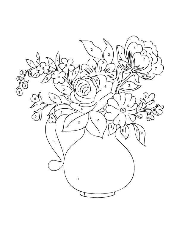 Free Colouring Pages Flowers Printable : Intricate flower color by number pages mothers day flowers