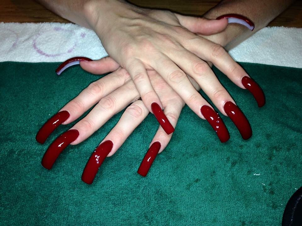 Super long red nails | Nails | Pinterest | Long red nails, Red nails ...