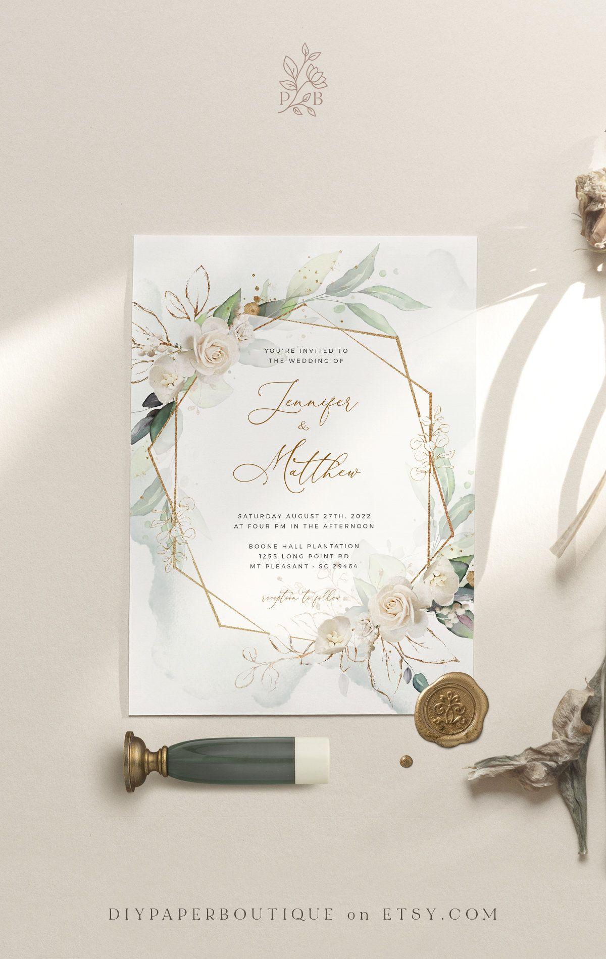 MARCI - Geometric Wedding Invitation Template, White Rose Faux