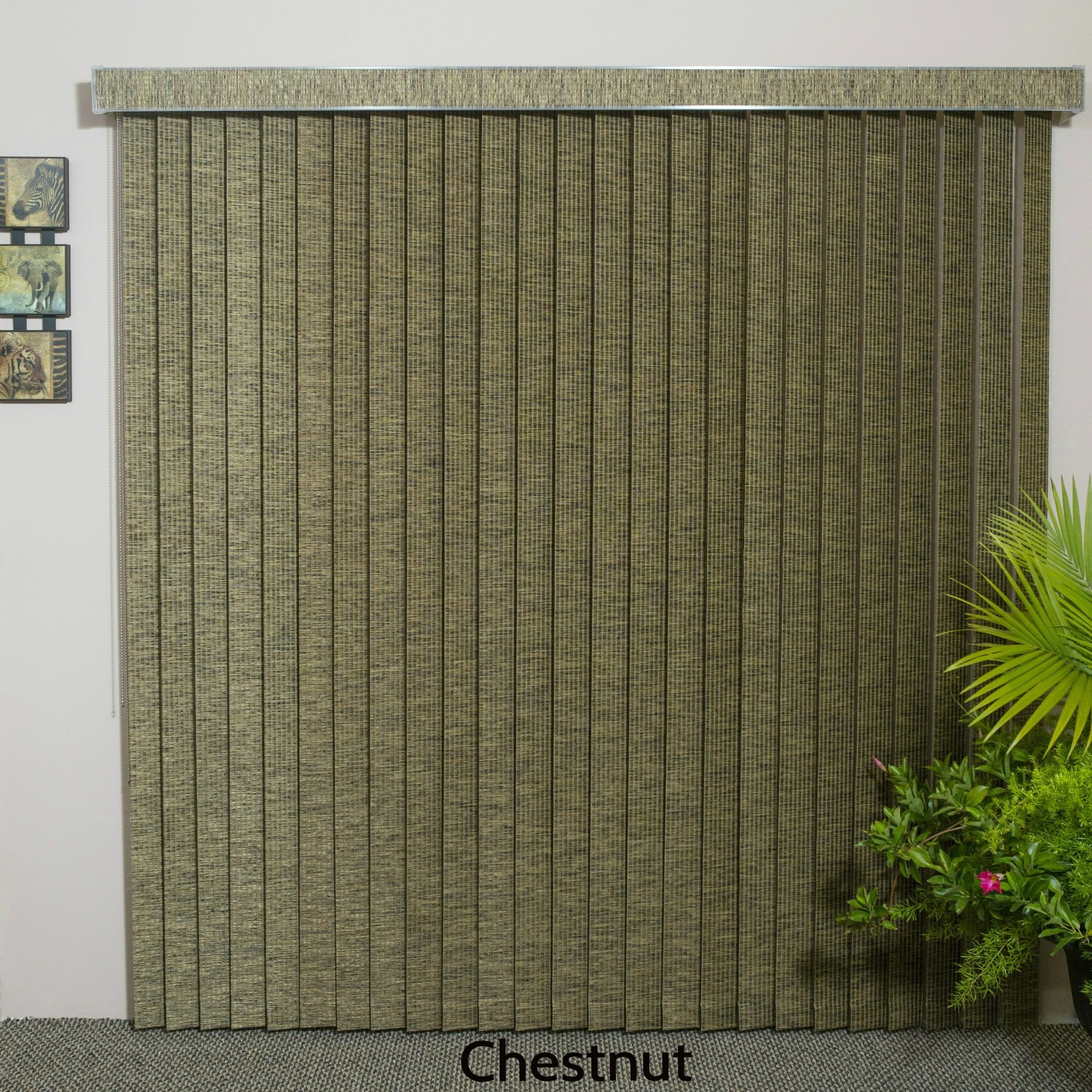 Edinborough Chestnut Free Hang Fabric Veritical Blind 48 Inches Long X 36 To 100 Wide