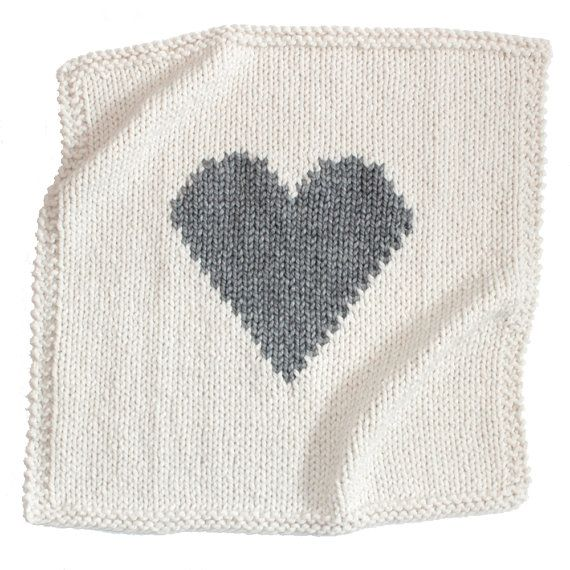 Baby Blanket Heart Cream and Grey Hand Knit for by YarningMade ...