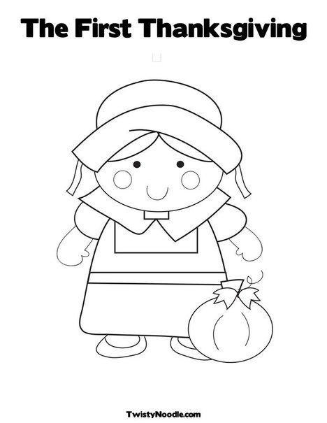 girl pilgrim the first thanksgiving coloring page from twistynoodlecom