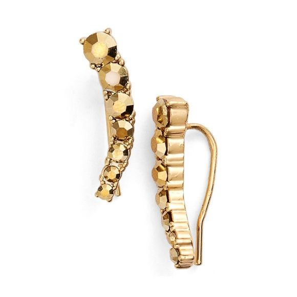 """kate spade new york gold crystal ear crawlers cuff A gradient of sparkling crystals line the gently tapered silhouette of dainty ear crawlers that are designed to follow the natural curvature of your lobes.  - 3/4"""" length - French wire - 14k-yellow gold or rhodium plate/glass kate spade Jewelry Earrings"""