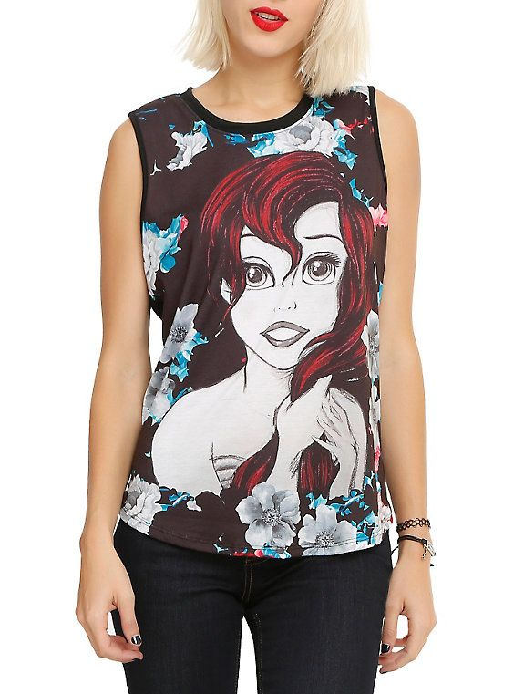 5a2db60c13be33 Disney The Little Mermaid Floral Ariel Sketch Girls Muscle Top ...