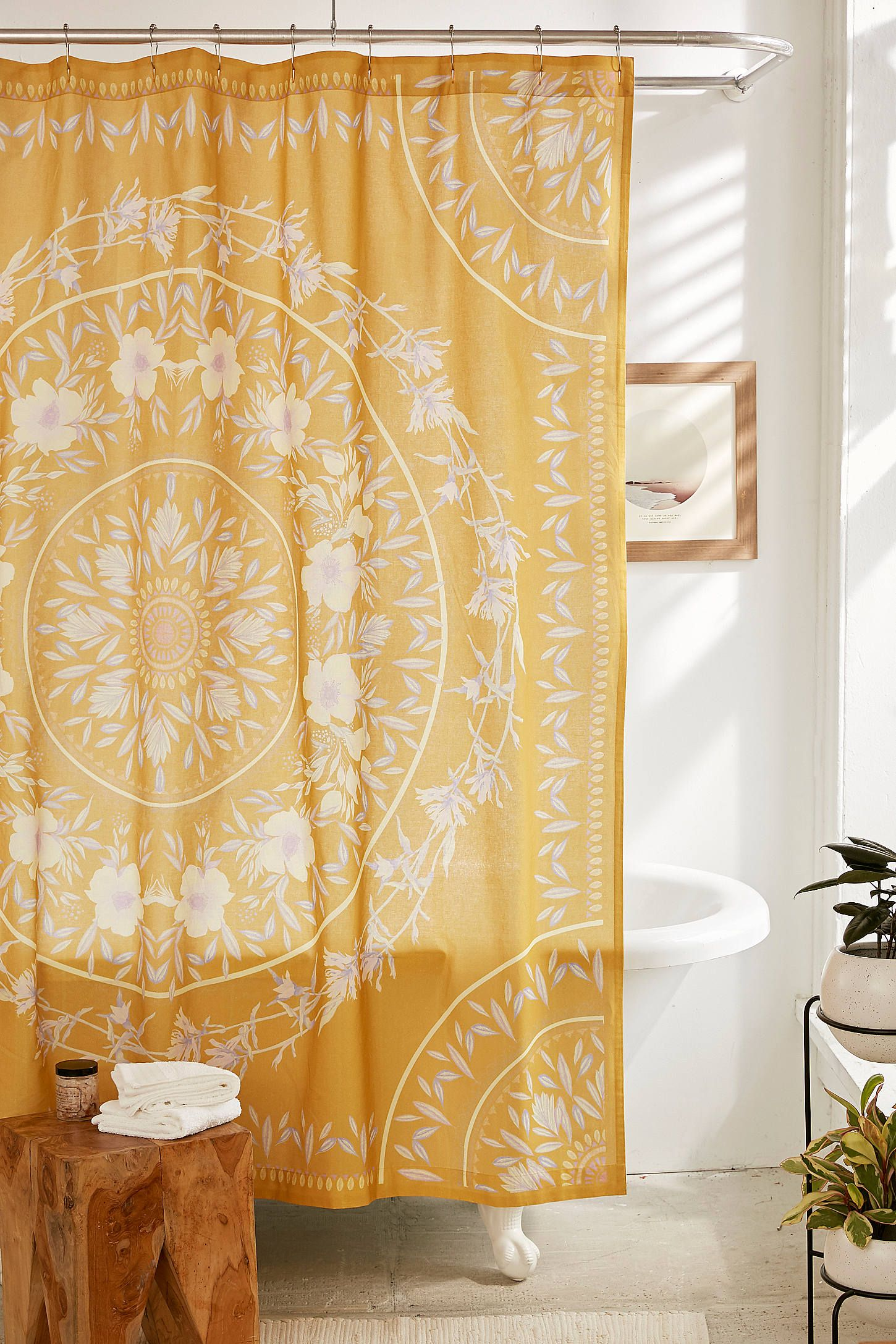 Sketched Floral Medallion Shower Curtain Yellow Shower Curtains