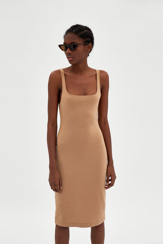 zara - woman - basic dress with straps | kleider