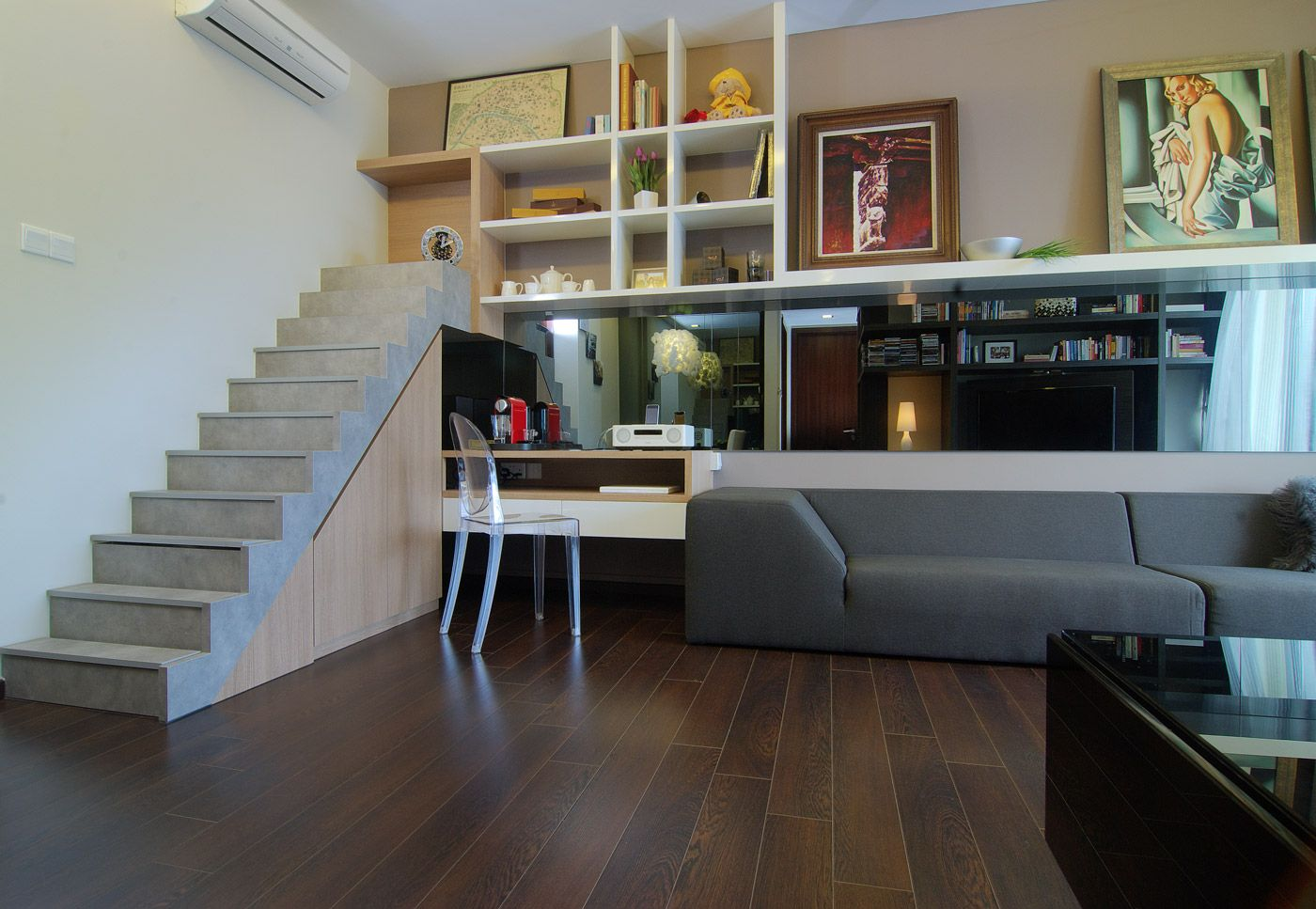 A Stairs Feature Lends A Loft Feel To This Condominium With Images Loft Design Loft Apartment Designs Loft Living