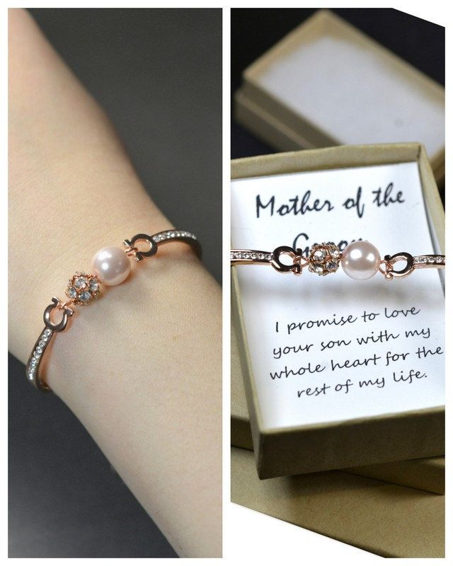 What Is The Appropriate Gift For A Wedding: Mother In Law Gift,Groom Mother Bracelet &Card,rose Gold