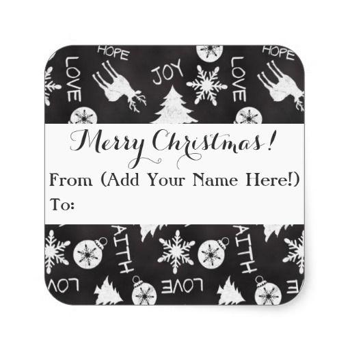 Customizable Chalkboard Christmas Pattern Holiday Gift Tag, Custom Printed stickers #christmas2014 #christmas #chalkboard