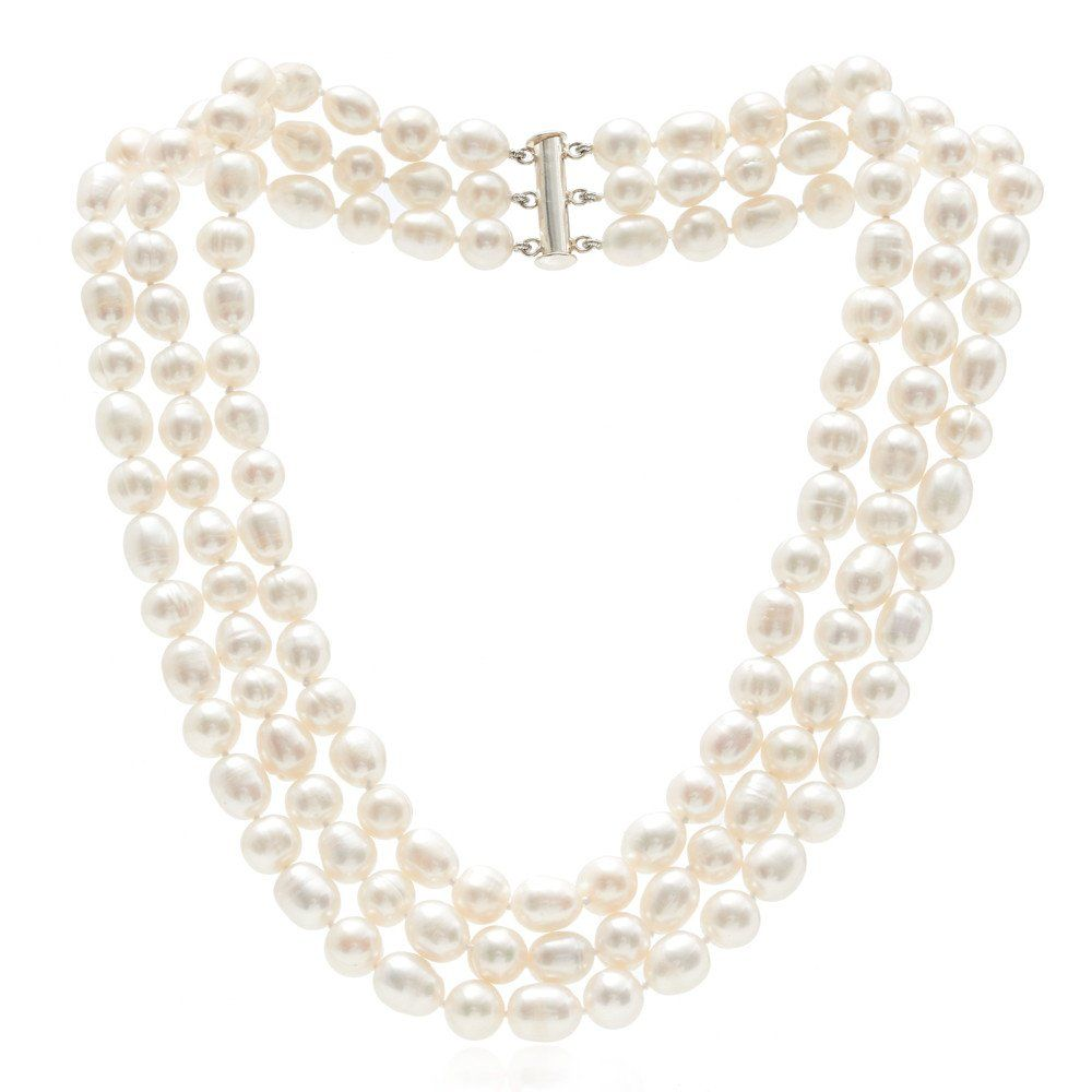 f75258c643e12 Triple strand cultured oval & baroque white freshwater pearl ...