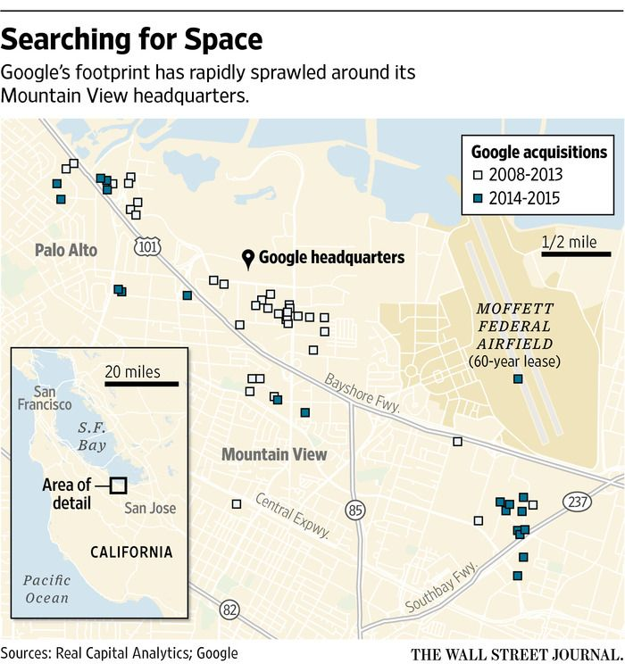Google Facebook Linkedin Want To Make Sure They Have Space To Grow Space Travel Google Headquarters Map