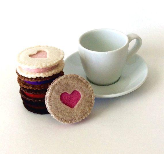 Valentinstag Filz Essen: 5 Rosa Liebe Fühlte Sich Linzer Herzkekse   Filz  Cookie, Tee Set, Kaffeekränzchen, Behaupten Spielen Für Mädchen, ...