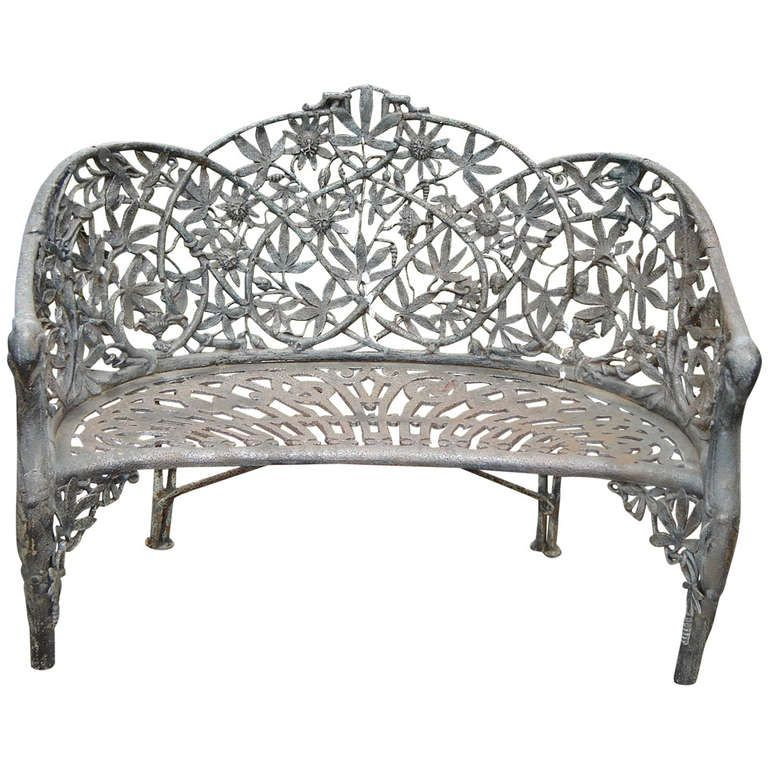 19th Century Cast Iron Garden Bench Gardens Antiques and Furniture