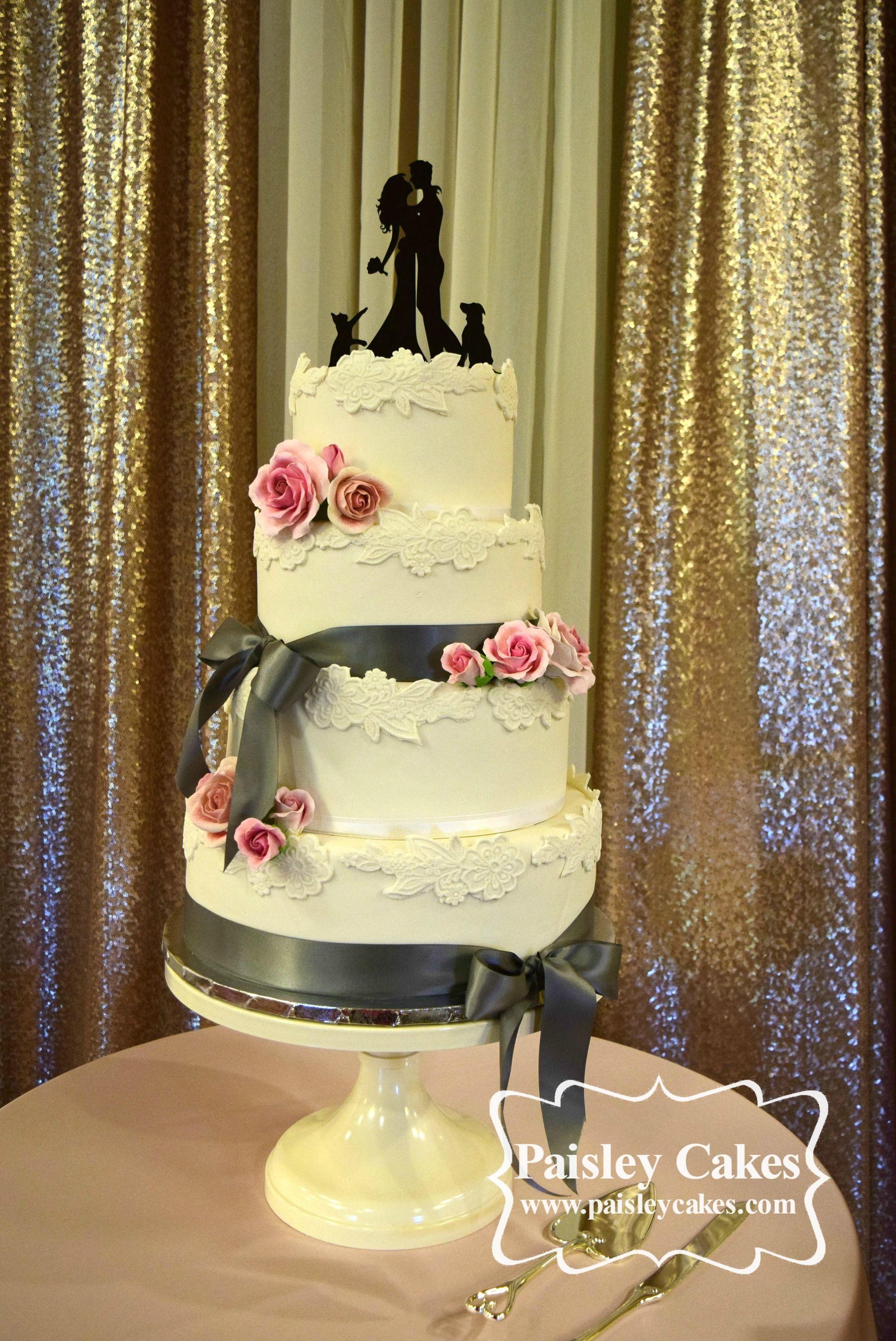 Vintage Fondant Lace Wedding Cake with Grey Satin Ribbon and Sugar ...