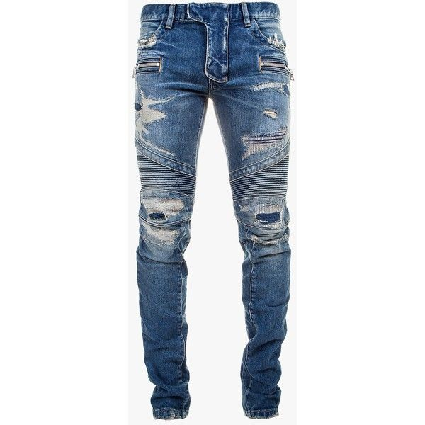 459c1de2 Balmain - Slim-fit distressed stretch cotton denim biker jeans - Men's...  ($1,880) ❤ liked on Polyvore featuring mens, men's clothing, men's jeans  and ...