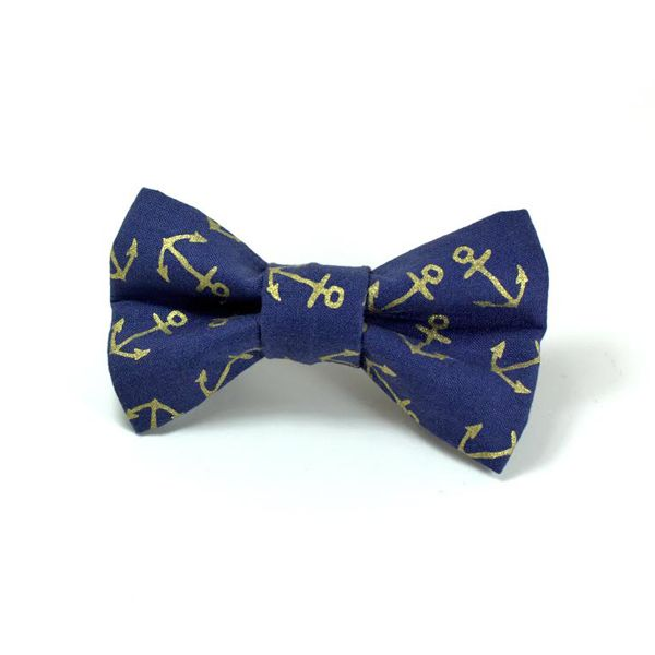 Gold Anchors Removable Dog Bow Tie by Four Black Paws.