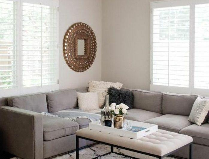 couleur peinture salon blanc canape gris tapis blanc