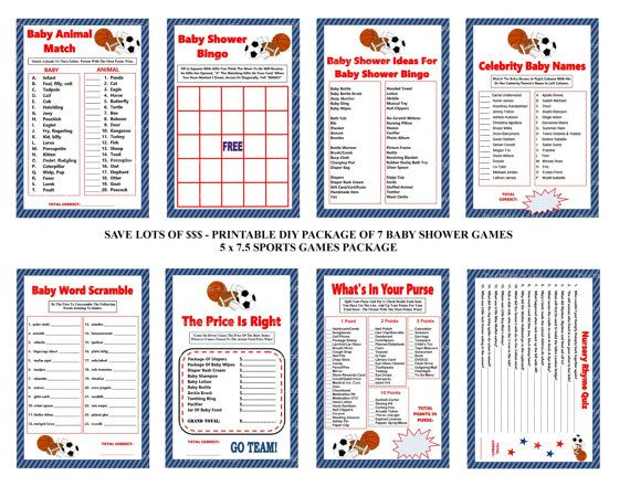 Sports Baby Shower Game, Sports Theme Baby Game, Printable Sports Baby  Game, Sports Shower Game, Sports Baby Package  Printables 4 Less 0079