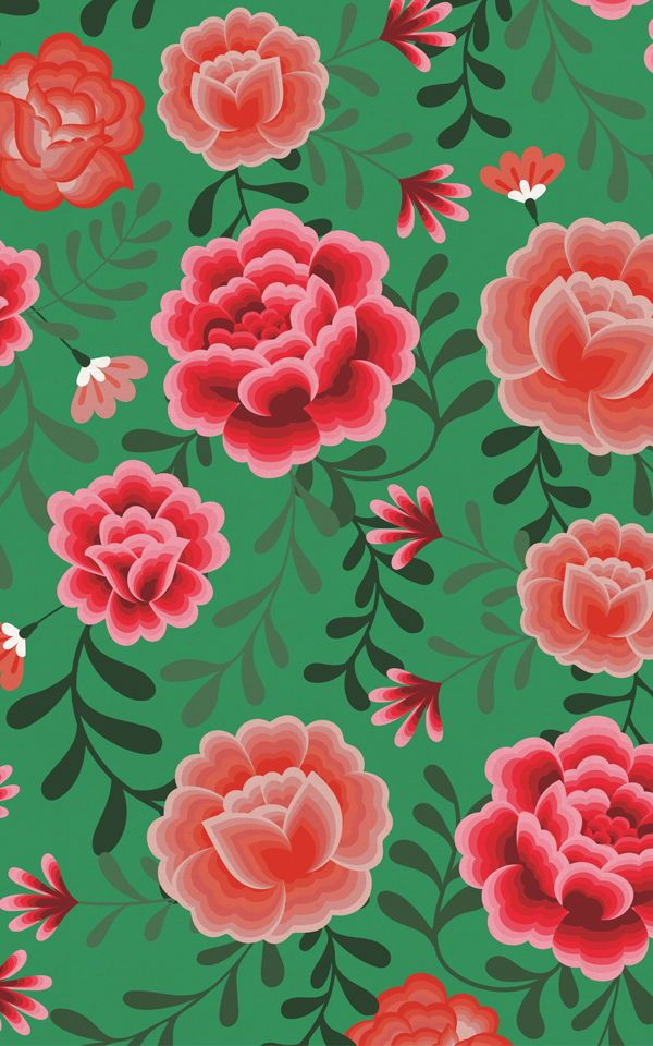 Stylish Wallpaper Heart Green Frida Kahlo Floral Pattern Wallpaper Mural In 2020