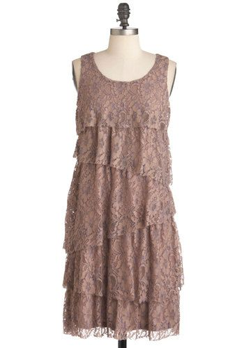 Hazelnuts About You Dress - Lace, Party, Sleeveless, Mid-length, Sheath / Shift, Tiered, Tan, Floral, Vintage Inspired, 20s