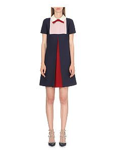 VALENTINO Colour-block wool and silk-blend dress