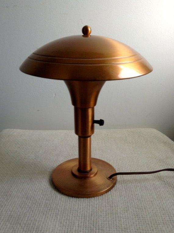 1950 S Small Vintage Mushroom Table Lamp Copper Metal
