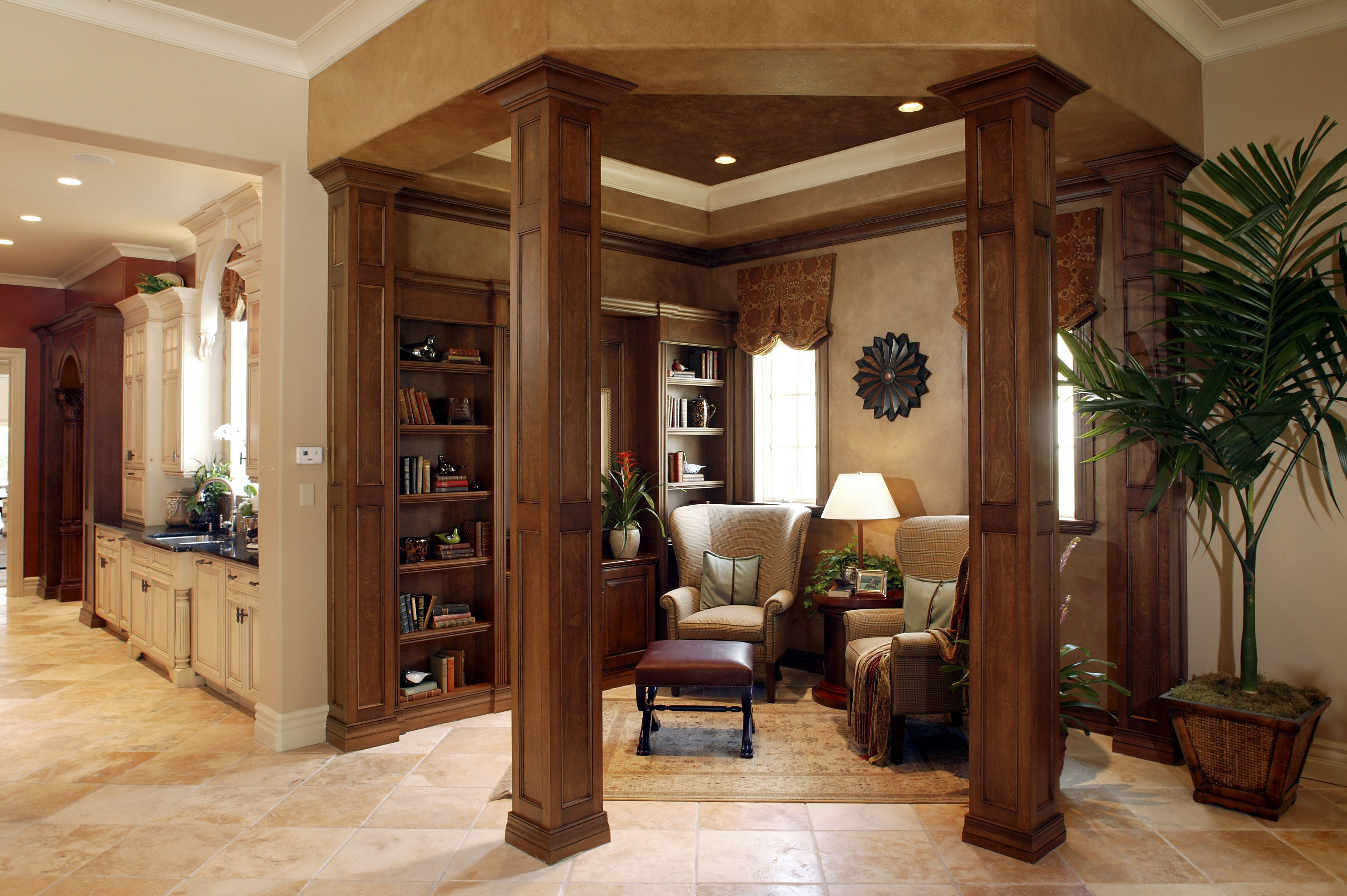 Doesnt This Look Relaxing A Traditional Style Library Nook With Large Wooden Columns