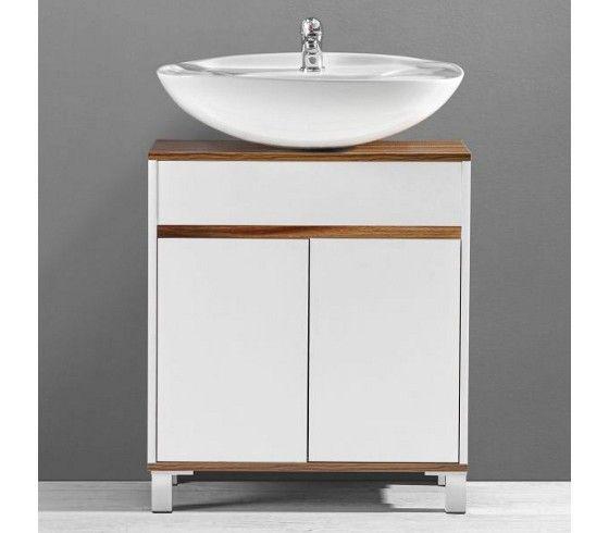 Schicker Unterschrank in Weiß und Braun - frischer Wind für Ihr - badezimmer unterschrank weiss