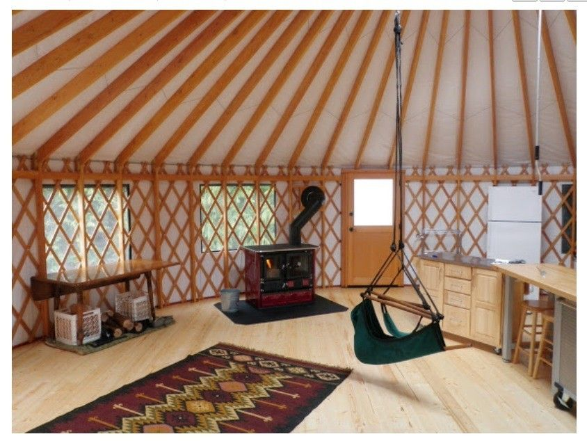 Wood cook stove in yurt
