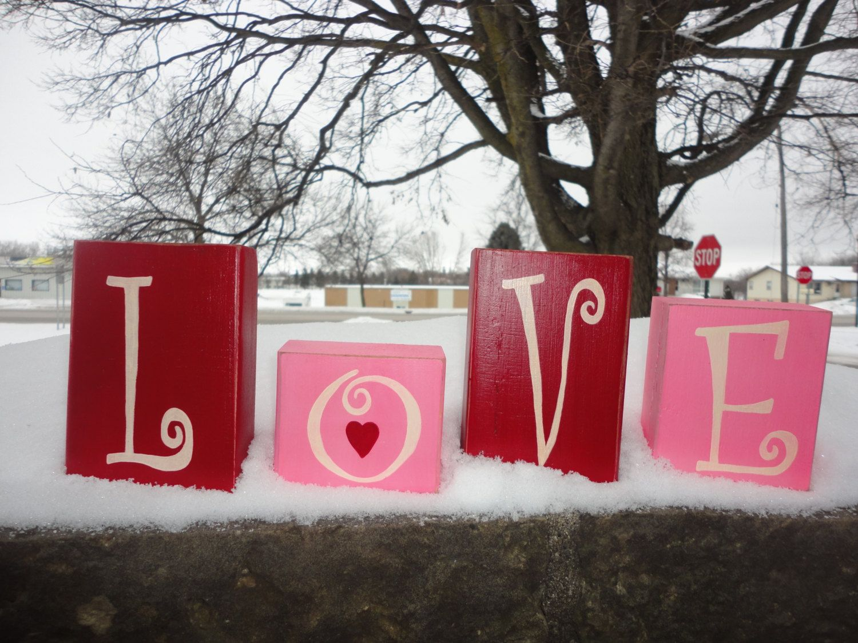 VALENTINE DeCorR, HaNd PaInTeD WoOd BlOcKs, PrImItIvE, Housewares, Home Decor, Love, Valentine's Day, Sign. $19.95, via Etsy.