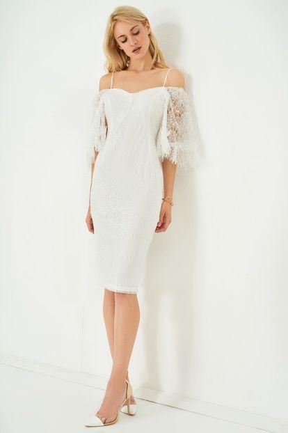 Beyaz Carmen Yaka Dantel Elbise Dantel Elbise Giyim The Dress