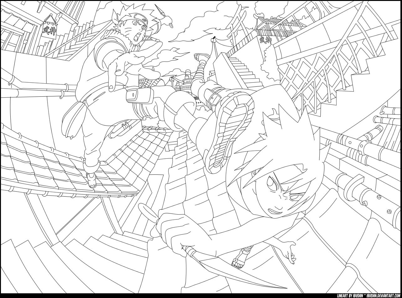 Naruto Vs Sasuke By Ibushin On Deviantart Coloring Pages Naruto Naruto Vs