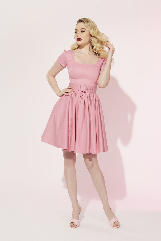 Laura Byrnes Lara Dress in Baby Pink | Vintage Style Swing Dress ...