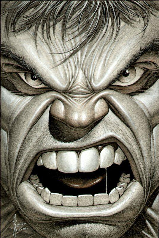 Hulk Face Drawing : drawing, Keown, Hulk,, Dibujo,, Imagenes