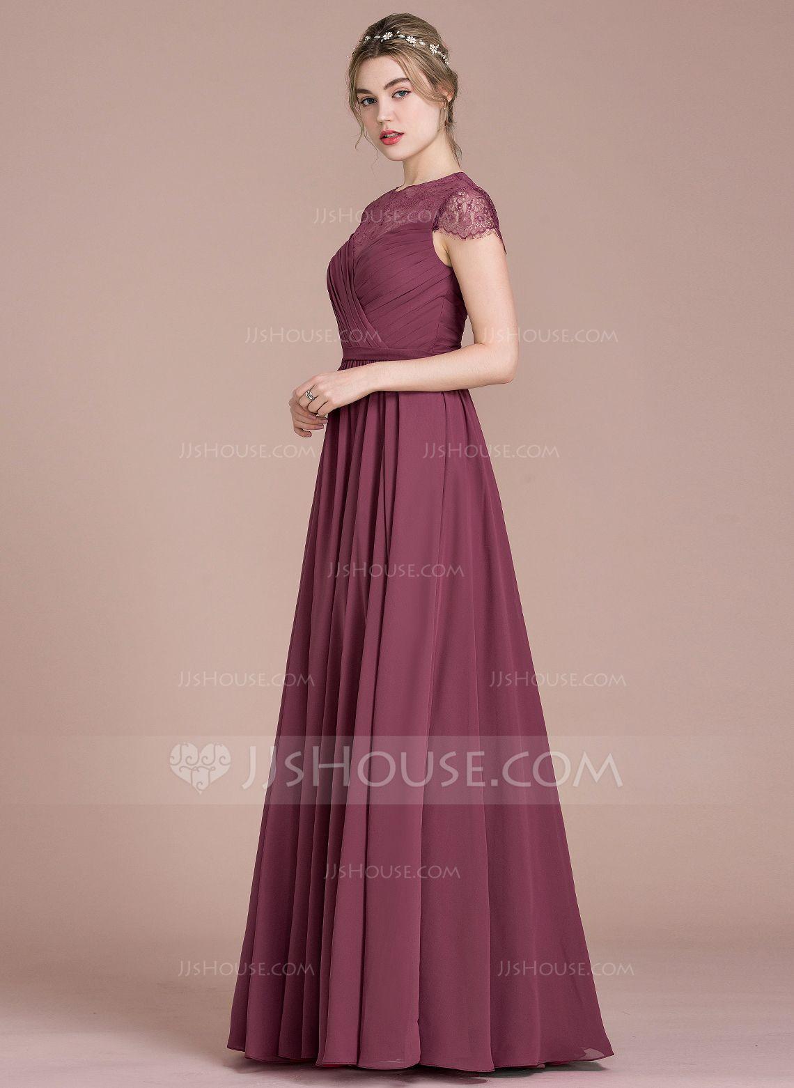 330dda5ced30d5 A-Line/Princess Scoop Neck Floor-Length Chiffon Lace Bridesmaid Dress With  Ruffle (007104723) - Bridesmaid Dresses - JJsHouse