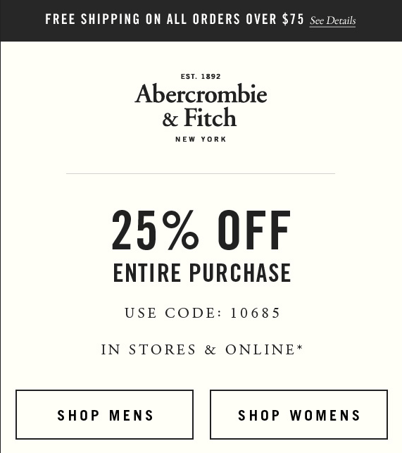 Pinned October 30th 25 Off At Abercrombie Fitch Or Online Via Promo Code 10685 Coupon Via The Coupons App Coupon Apps Coupons Coding