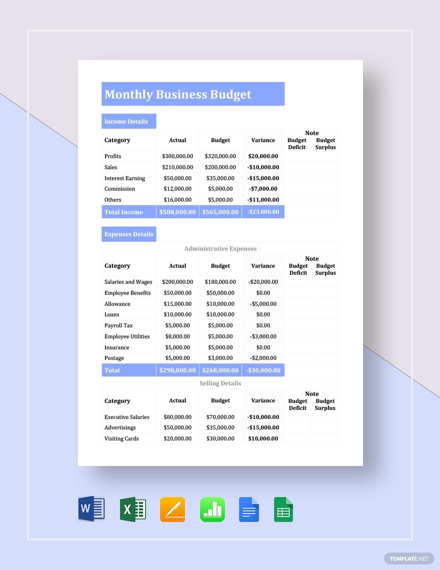 Monthly Business Budget Template Free Pdf Google Docs Google Sheets Excel Word Template Net Business Budget Template Excel Budget Template Budget Template [ 1140 x 880 Pixel ]
