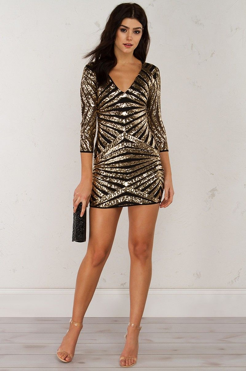 Long sleeve sequin dress in gold and rose gold pretty dresses