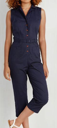 Dark blue cropped jumpsuit