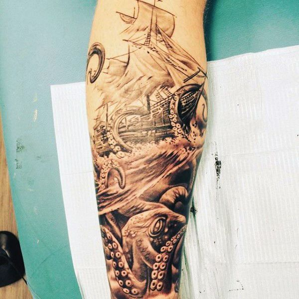 Masculine Muscle Design Ideas: Male Masculine Calf Tattoo Designs Men