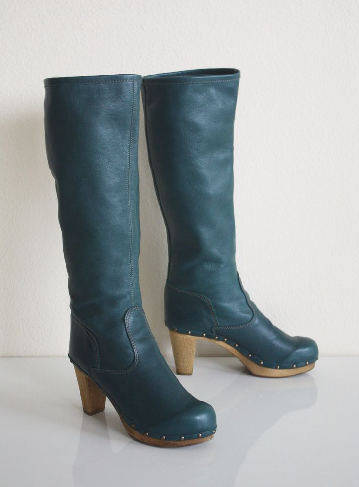 26fd5f4c0c026a ANTHROPOLOGIE COLLAGE CLOG BOOTS  298 Green Leather SANITA Pull On Knee  High  Sanita  KneeHighBoots  Any