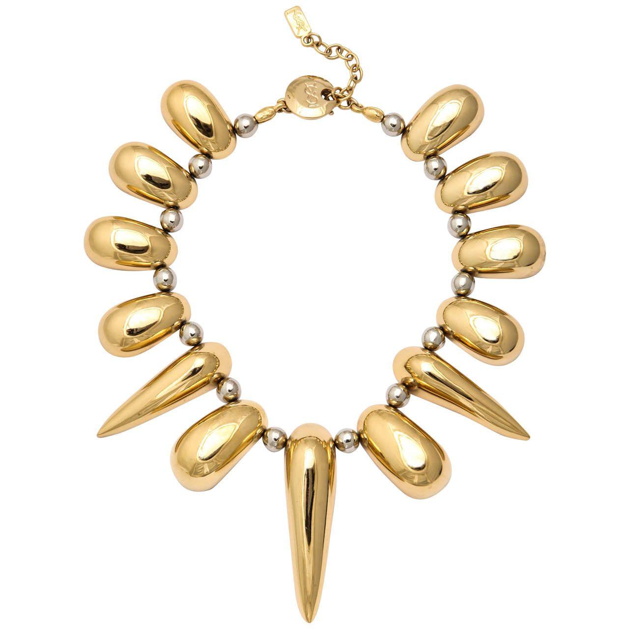 Ysl vintage necklace or collier ysl vintage and gold